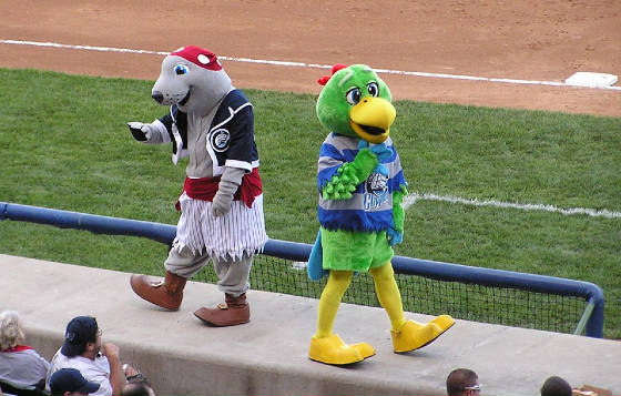 Columbus mascots Lou Seal and the Pirate parrot